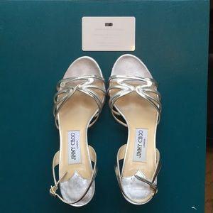 Jimmy Choo silver Pollen Met Nappa heels